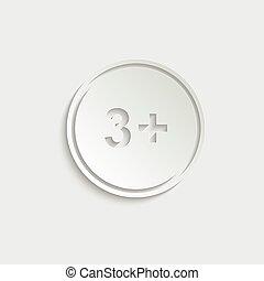 paper 3 plus icon. black vector 3 + plus sign