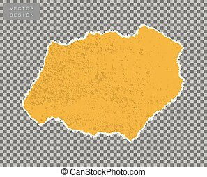 Paper. A piece, a scrap of yellow with the effect of scuff, old age, grunge. Vector object on isolated transparent background.
