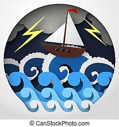 Paper abstract of ship against sea and thunderbolt in storm, concept art, vector illustration.