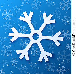 Paper abstract snowflake on blue background