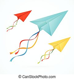 Paper Airplain Colorful Set. Vector