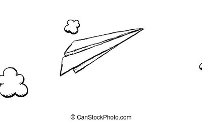 paper airplane flying through the air time lapse of clouds in rh canstockphoto com Paper Airplane Flying Cartoon paper airplane cartoon video