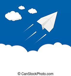 paper airplane above the clouds illustration