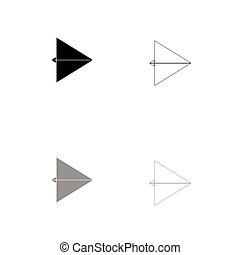 Paper airplane black and grey set icon .
