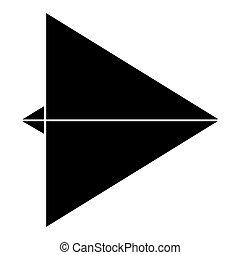 Paper airplane black color icon .
