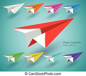 paper airplane colourful icon - vector EPS10