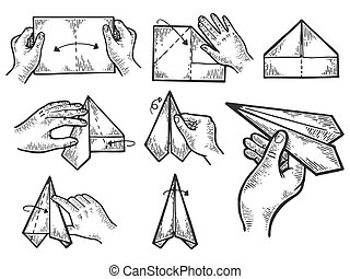 Paper airplane creation instructions engraving vector...