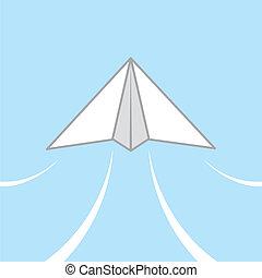 Paper airplane gliding through the air