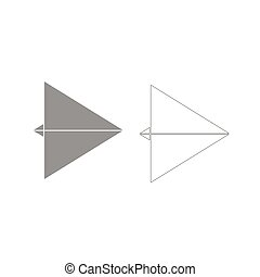 Paper airplane grey set icon .