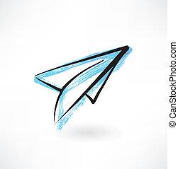 paper airplane grunge icon