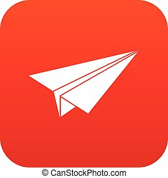 Paper airplane icon digital red