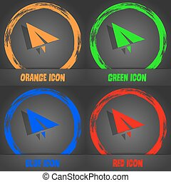 Paper airplane icon. Fashionable modern style. In the orange, green, blue, red design. Vector