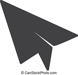 Paper airplane icon in black on a white background. Vector illustration