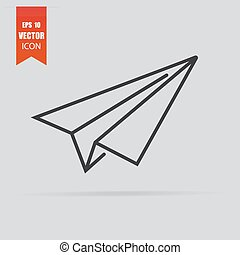 Paper airplane icon in flat style isolated on grey background.