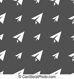 Paper airplane icon sign. Seamless pattern on a gray background. Vector