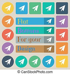 Paper airplane icon sign. Set of twenty colored flat, round, square and rectangular buttons. Vector