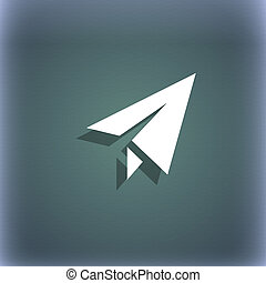 Paper airplane icon symbol on the blue-green abstract background with shadow and space for your text.