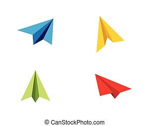 Paper Airplane icon vector illustration design Logo Template