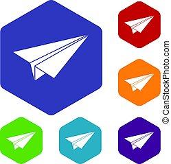 Paper airplane icons set hexagon