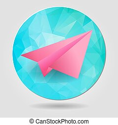 paper airplane on a blue abstract geometric button