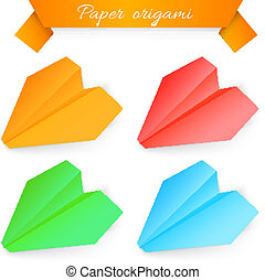 Paper airplane origami. Vector illustration