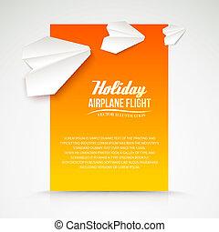 Paper airplane postcard.