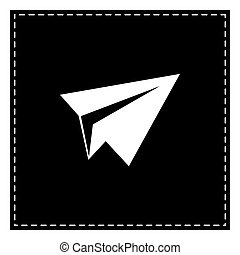 Paper airplane sign. Black patch on white background. Isolated.