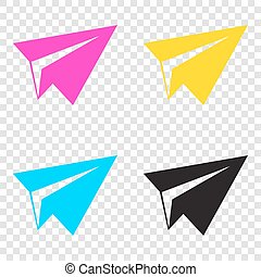 Paper airplane sign. CMYK icons on transparent background. Cyan,