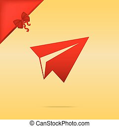 Paper airplane sign. Cristmas design red icon on gold background.