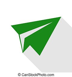 Paper airplane sign. Green icon with flat style shadow path.
