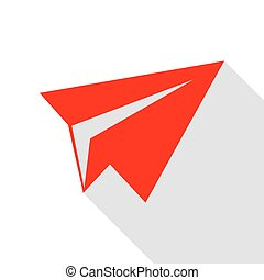Paper airplane sign. Red icon with flat style shadow path.