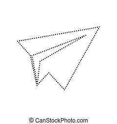 Paper airplane sign. Vector. Black dotted icon on white background. Isolated.