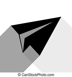 Paper airplane sign. Vector. Black icon with two flat gray shadows on white background.
