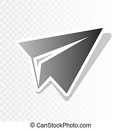 Paper airplane sign. Vector. New year blackish icon on transparent background with transition.