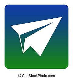 Paper airplane sign. Vector. White icon at green-blue gradient square with rounded corners on white background. Isolated.