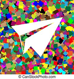 Paper airplane sign. Vector. White icon on colorful background w