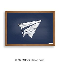 Paper airplane sign. White chalk icon on blue school board with