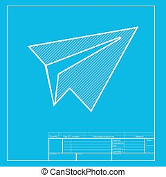 Airplane vector blueprint blue background with grid vector eps paper airplane sign white section of icon on blueprint template malvernweather Choice Image