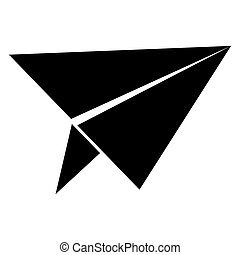 Paper airplane  the black color icon .