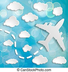 paper airplane with clouds on a blue air background.  Blue sky t