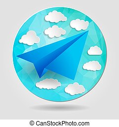 Paper airplane with clouds on the abstract triangular background