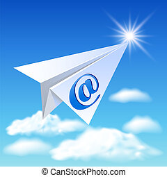 Paper airplane with e-mail sign flying up in the sky