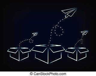 paper airplanes flying out of boxes