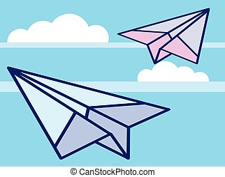 Paper Airplanes in the sky Vector