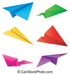 Set of 6 color paper airplanes.