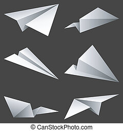 Paper airplanes. - Set of 6 paper airplanes.
