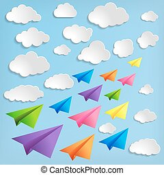 Paper airplanes with clouds on blue background