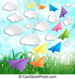 Paper airplanes with clouds on on a Natural green abstract Backg
