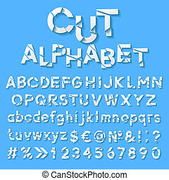 Paper alphabet with cut letters. Vector illustration