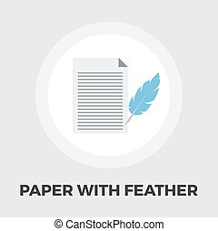 Paper and bird feather pen icon flat